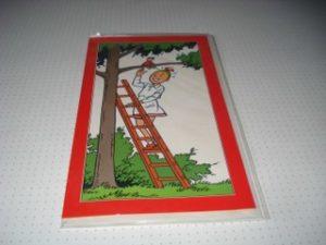 De Fameuze Fanclub Wiske op een trap bij boom