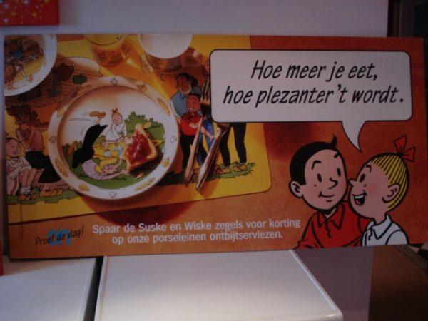 Karton tekst Hoe meer je eet enz is tweezijdig
