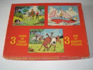 Puzzel 3 verschillende Lambik valt van paard