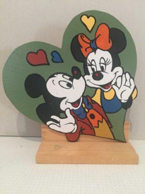 Mickey en Minnie Mouse op hardboard plaatje hartvorm