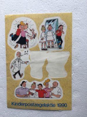 Sticker vel niet compleet Kinderpostzegels 1990