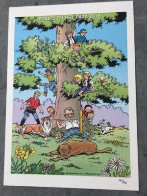 Ex-Libris Strips in het park 2016 W Vandersteen zit voor boom