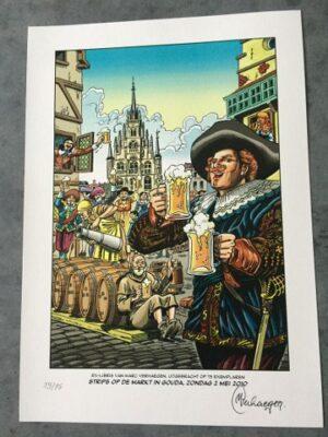 ex-libris Marc Verhaegen Strips op de markt Gouda 2010