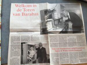 Couranten knipsel Welkom in de toren van Barabas