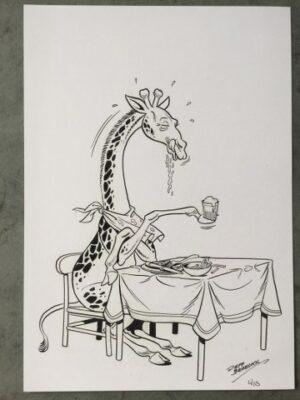 Ex-Libris Giraf aan tafel Jeff Broeckx